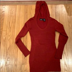 Red sweater with hood